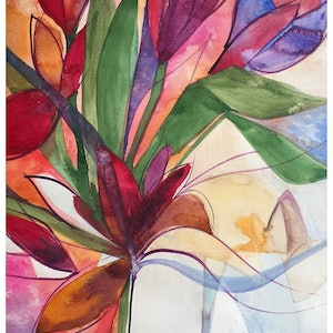 (CreativeWork) Flowing free by Caroline Deeble. watercolour. Shop online at Bluethumb.