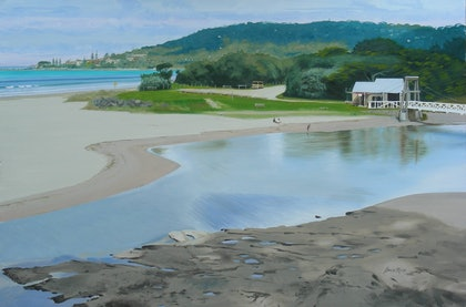 (CreativeWork) Lorne, calm day by Lance Ross. oil-painting. Shop online at Bluethumb.
