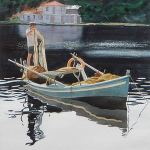 (CreativeWork) Yianni the fisherman, Sivota, Ionian Greek Isles by Lance Ross. watercolour. Shop online at Bluethumb.