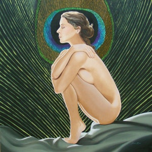 (CreativeWork) Peacock nude by Lance Ross. oil-painting. Shop online at Bluethumb.