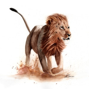 (CreativeWork) Lion in Watercolour by Kieran O'Connor. watercolour. Shop online at Bluethumb.