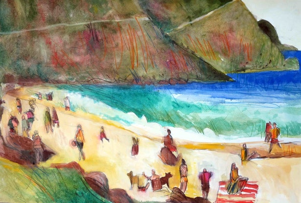 (CreativeWork) On the beach  by John Graham. Mixed Media. Shop online at Bluethumb.