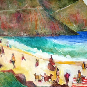 (CreativeWork) On the beach  by John Graham. mixed-media. Shop online at Bluethumb.