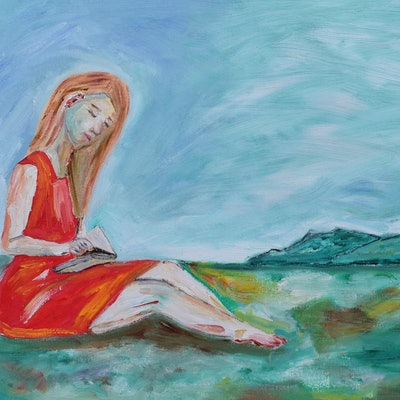 (CreativeWork) Woman Reading by Sharyn Bursic. Oil Paint. Shop online at Bluethumb.