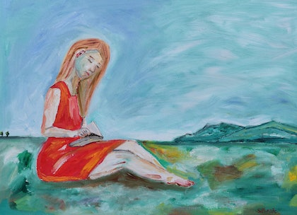 (CreativeWork) Woman Reading by Sharyn Bursic. oil-painting. Shop online at Bluethumb.