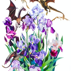 "(CreativeWork) ""Dragons in Irises"" by Tatyana Binovska. arcylic-painting. Shop online at Bluethumb."