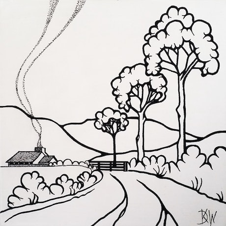 (CreativeWork)  Country Home - 30 x 30cm Black White Australiana Landscape by Desley Wilson. Acrylic Paint. Shop online at Bluethumb.