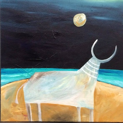 (CreativeWork) The Cow and the Moon by Nora Hanasy. arcylic-painting. Shop online at Bluethumb.