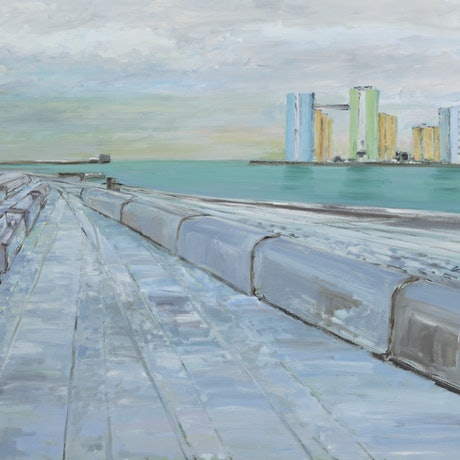 (CreativeWork) Baltic Port by David McLeod. Oil Paint. Shop online at Bluethumb.