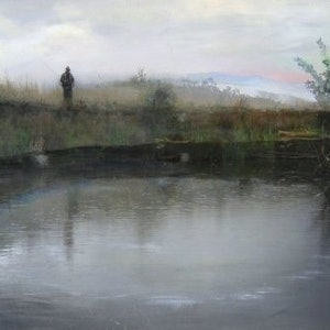 (CreativeWork) Fly Fisherman ,Tasmania. 2001. by Jeff Cassidy. oil-painting. Shop online at Bluethumb.