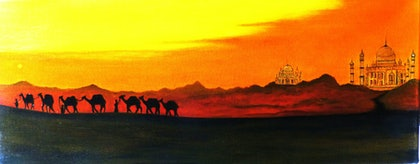 (CreativeWork) Camel Train by Rick Lowe. arcylic-painting. Shop online at Bluethumb.