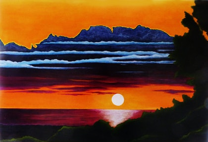 (CreativeWork) Winter Sun by Rick Lowe. arcylic-painting. Shop online at Bluethumb.