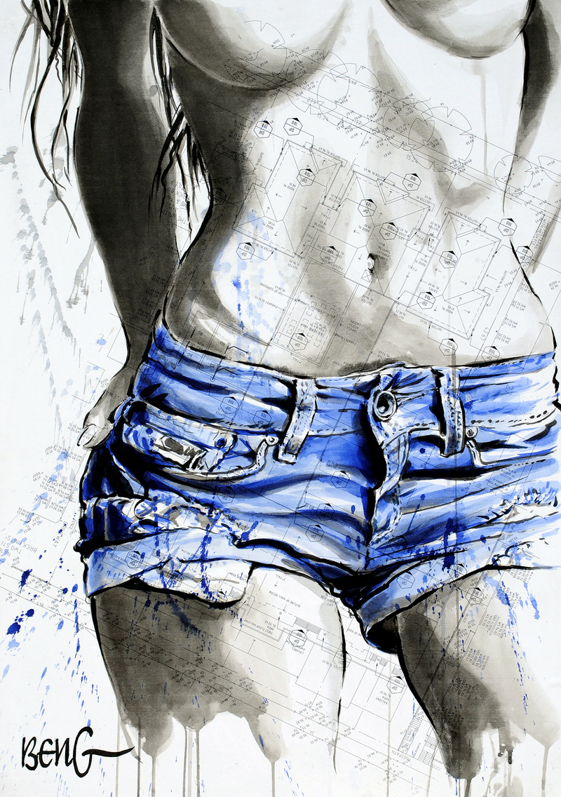 (CreativeWork) Blue Nude-2 by Soo Beng Lim. mixed-media. Shop online at Bluethumb.