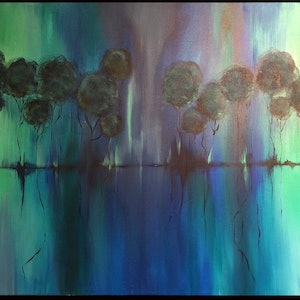 (CreativeWork) Aurora Trees by Kat Las. arcylic-painting. Shop online at Bluethumb.