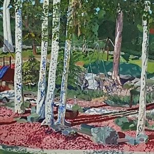 (CreativeWork) Playground. Beachamp Park Chatswood. by David Foster. arcylic-painting. Shop online at Bluethumb.
