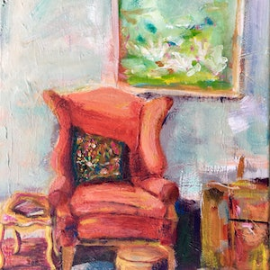 (CreativeWork) Studio Chair by Wendy Pepyat. arcylic-painting. Shop online at Bluethumb.