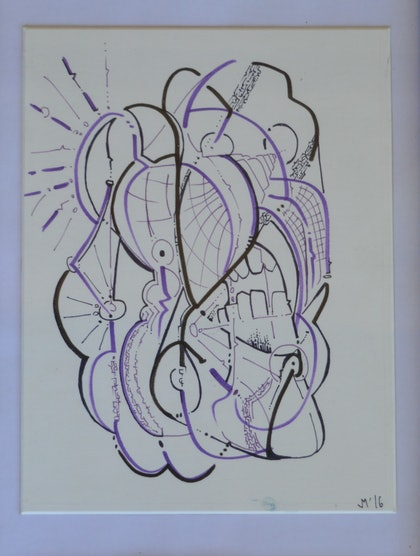 (CreativeWork) Plack and burple by Jim Martin. drawing. Shop online at Bluethumb.
