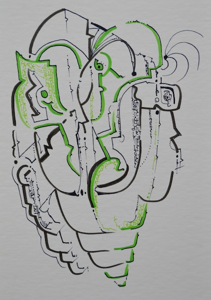 (CreativeWork) Grittle lean men by Jim Martin. drawing. Shop online at Bluethumb.