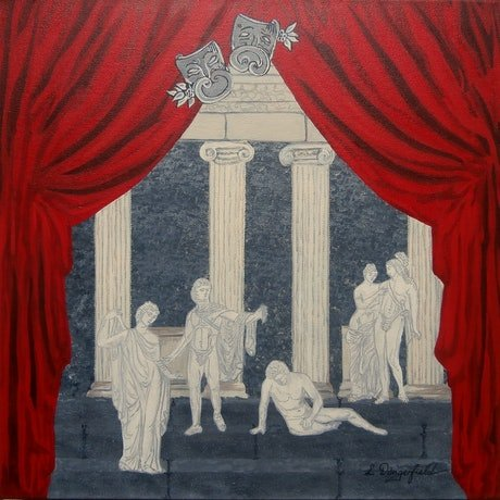 (CreativeWork) A GREEK TRAGEDY by Lisa Dangerfield. Acrylic Paint. Shop online at Bluethumb.