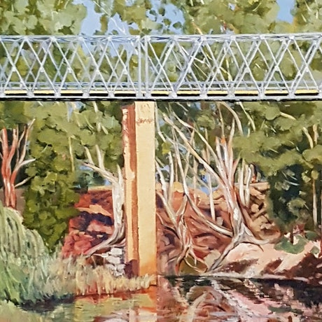 (CreativeWork) Gin Gin Bridge by David Foster. Acrylic Paint. Shop online at Bluethumb.