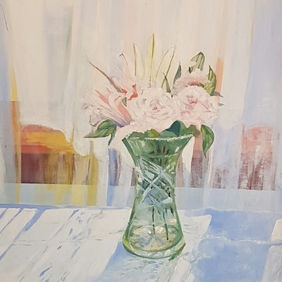 (CreativeWork) Back light pink roses  by David Foster. Acrylic Paint. Shop online at Bluethumb.