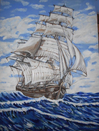 (CreativeWork) The Champion of the Seas by Colin Sievers. Oil Paint. Shop online at Bluethumb.