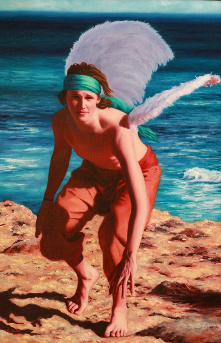 (CreativeWork) Imprisoned by Sea Icarus Escapes by Vicki Sullivan. oil-painting. Shop online at Bluethumb.