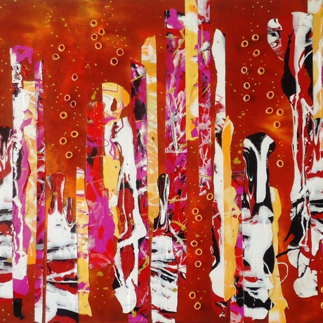 (CreativeWork) Embers. Rich warm red abstract by Julee Latimer. Acrylic Paint. Shop online at Bluethumb.