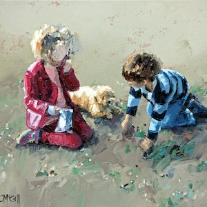 (CreativeWork) Best Friends II by Claire McCall. oil-painting. Shop online at Bluethumb.