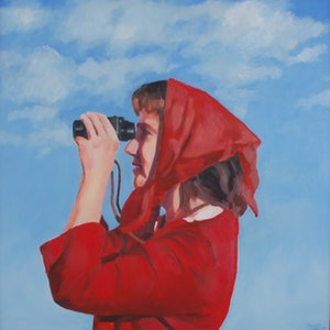 (CreativeWork) Lady with binoculars by Trent Chaplin. oil-painting. Shop online at Bluethumb.