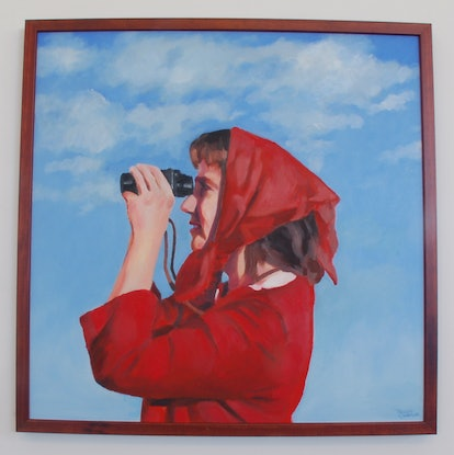 (CreativeWork) Lady with binoculars by Trent Chaplin. #<Filter:0x000055a41721eb50>. Shop online at Bluethumb.