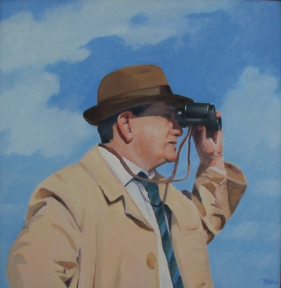(CreativeWork) Man with binoculars by Trent Chaplin. Oil Paint. Shop online at Bluethumb.