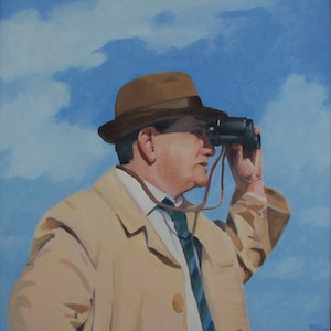 (CreativeWork) Man with binoculars by Trent Chaplin. oil-painting. Shop online at Bluethumb.