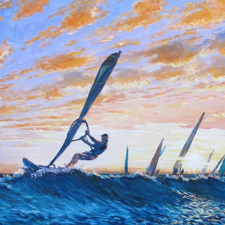 (CreativeWork) Wave Riders by Chijian Ye. Oil Paint. Shop online at Bluethumb.