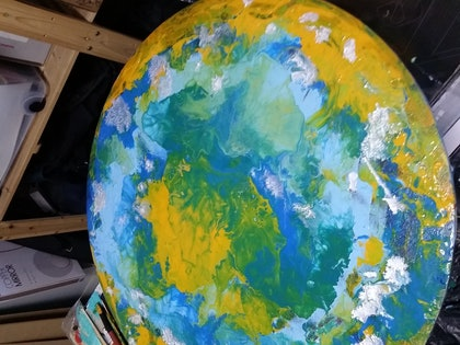 (CreativeWork) Round Yella by N Caygill. arcylic-painting. Shop online at Bluethumb.