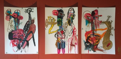 (CreativeWork) Jazz club  by Stephen Homewood. mixed-media. Shop online at Bluethumb.