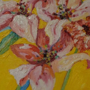 (CreativeWork) Lilies by Sara Warner. oil-painting. Shop online at Bluethumb.
