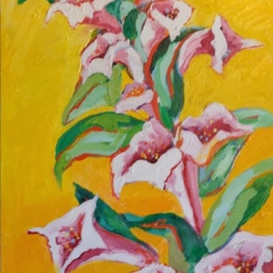 (CreativeWork) Hollyhocks by Sara Warner. oil-painting. Shop online at Bluethumb.