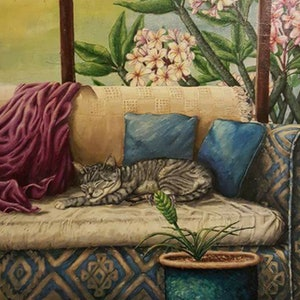 (CreativeWork) Cat on lounge by Krysten Taprell. arcylic-painting. Shop online at Bluethumb.