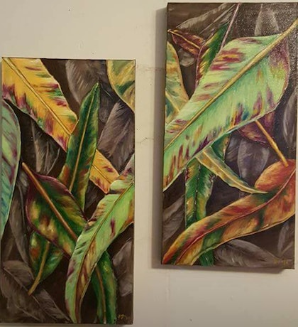 (CreativeWork) Fallen leaves by Krysten Taprell. arcylic-painting. Shop online at Bluethumb.