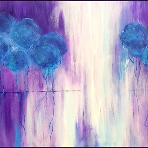 (CreativeWork) Purple Rain by Kat Las. arcylic-painting. Shop online at Bluethumb.
