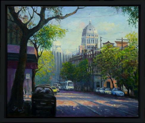 (CreativeWork) The Royal Exhibition Centre from Gertrude Street, Fitzroy, Melbourne by Fred Marsh. Oil Paint. Shop online at Bluethumb.