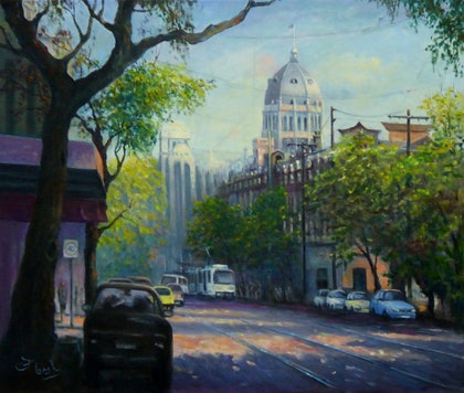 (CreativeWork) The Royal Exhibition Centre from Gertrude Street, Fitzroy, Melbourne by Fred Marsh. oil-painting. Shop online at Bluethumb.