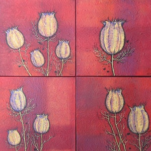 (CreativeWork) Love-In-A-Mist (4 Panels) by Jacqueline Briner. mixed-media. Shop online at Bluethumb.