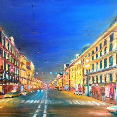 (CreativeWork) St Petersburg. Midnight. by Sergei Londar. Oil Paint. Shop online at Bluethumb.