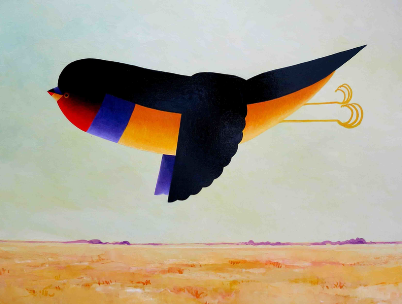 (CreativeWork) Gouldian Finch Morning  by John Graham. oil-painting. Shop online at Bluethumb.