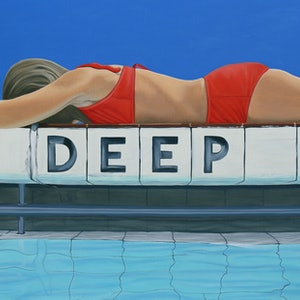 (CreativeWork) The Deep End by Margaret Ingles. oil-painting. Shop online at Bluethumb.