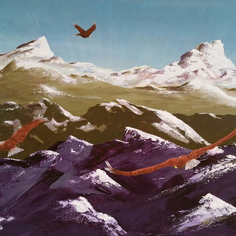 (CreativeWork) Where Eagles Soar by glenda pitt. Acrylic Paint. Shop online at Bluethumb.