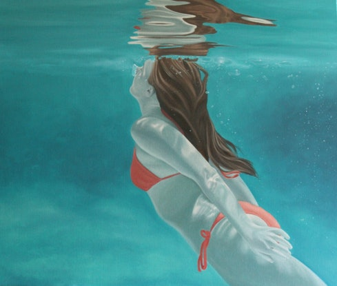 (CreativeWork) Surfacing by Margaret Ingles. Oil Paint. Shop online at Bluethumb.