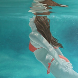 (CreativeWork) Surfacing by Margaret Ingles. oil-painting. Shop online at Bluethumb.